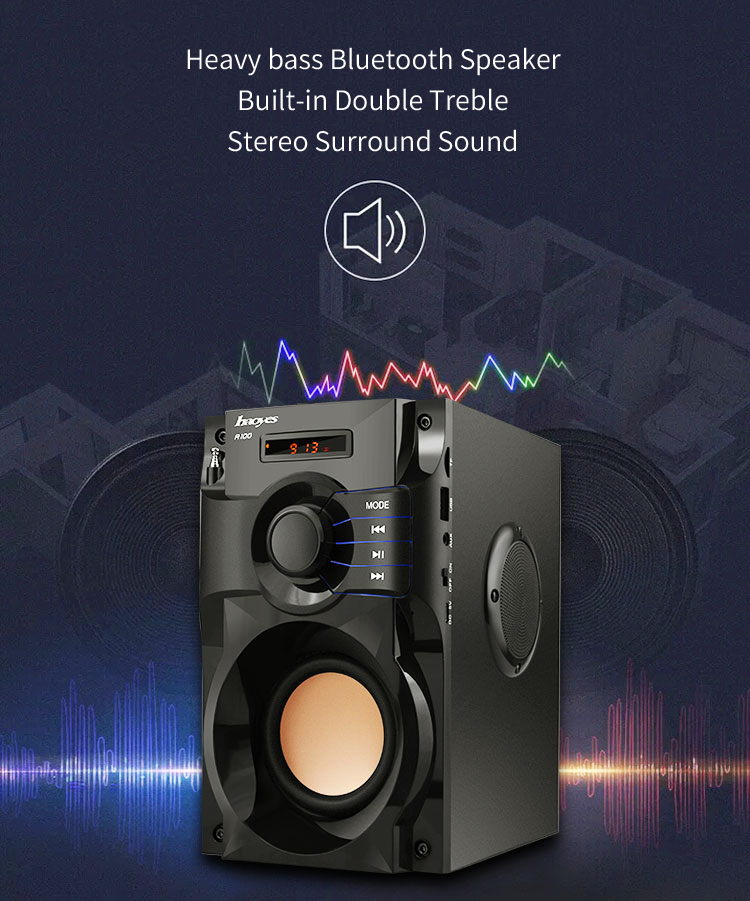 A100 Wireless bluetooth Speaker Portable Music Player Heavy bass Stereo Surround Sound FM TF AUX USB Remote Controller portable mini mp3 vibration speaker w fm usb tf remote controller black page 9