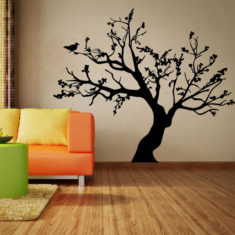 Black Tree Pattern Wall Sticker Poster  For Home Decorations Diy Removable Wall Decals For Kids Room 57X95cm CP0405
