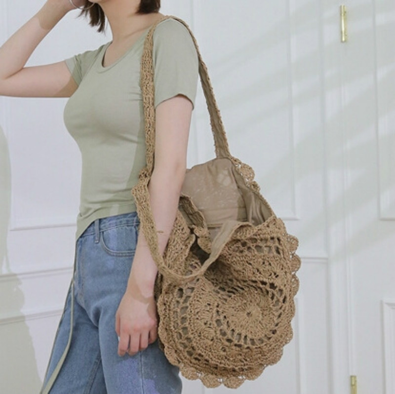 Bohemian Round Rattan Bags Woven Straw Women Handbags Handmade Wicker Shoulder Bags Large Capacity Lady Casual Summer Beach Bag