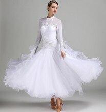 Standard Ballroom Dresses Women High Collar Lycra Stretchy Waltz Dancing Costume Adult Competition Dance Dress