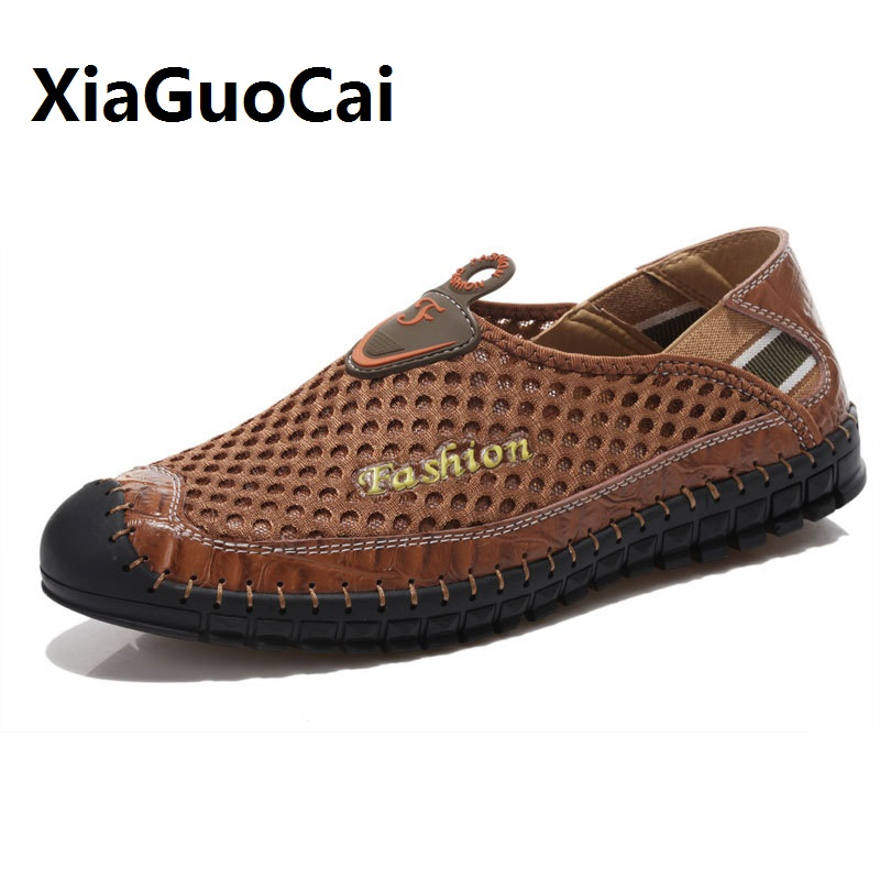 2017 summer man casual shoes mesh Hollow out Breathable High quality fashion mens slip on shoes Genuine Leather human race 559 цена