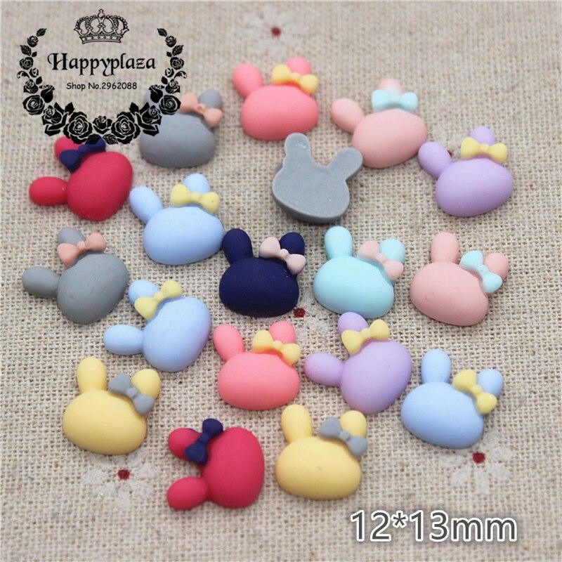 50PCS Mix Colors Cute Resin Small Rabbits Flat Back Cabochon DIY Jewelry/Craft Scrapbook Decoration,12*13mm