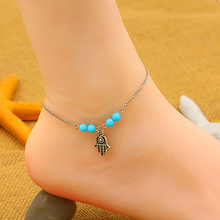 New and fashion Hamsa Fatima Hand Beads Chain Anklet Beach Sandal Bracelet Ankle Foot Jewelry AISU