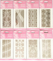 10sheets New 3D Lace Flower Design Nail Stickers Silver Decals Art for Nail Tips Decoration Tool