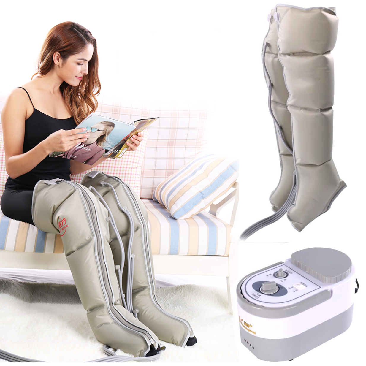 electric air compression leg massager leg wraps foot ankles calf massage machine promote blood. Black Bedroom Furniture Sets. Home Design Ideas