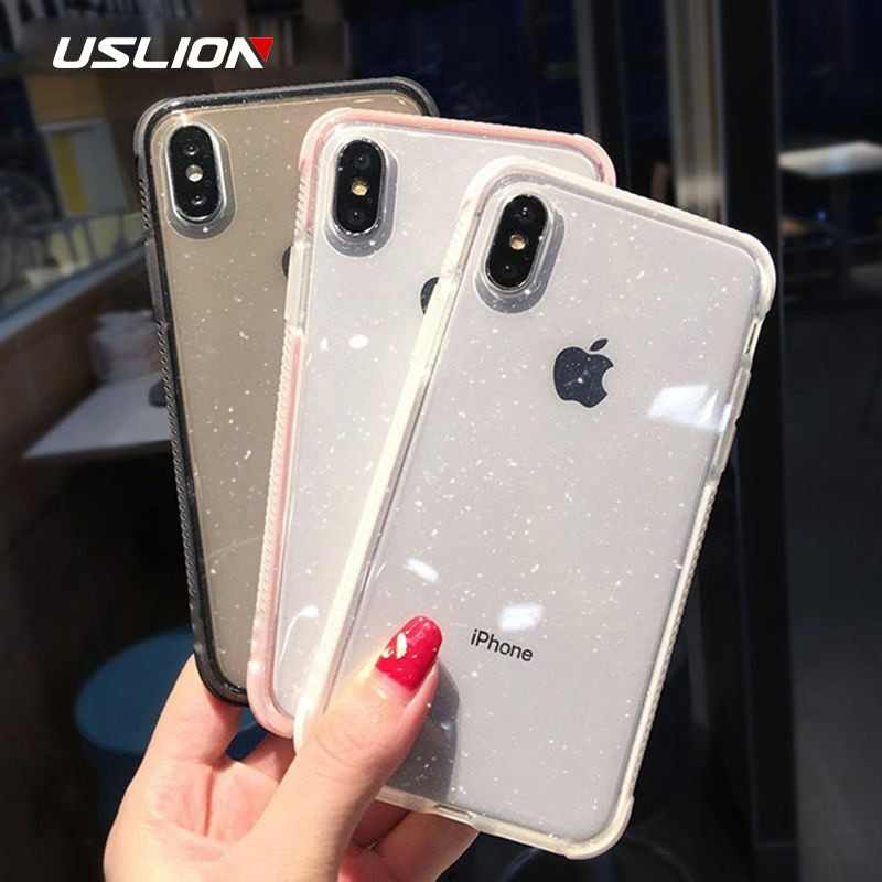 USLION Glitter Powder Phone Case For iPhone XS Max XS X Shockproof Transparent Soft TPU Bling Cover for iPhone 7 6 S 8 Plus Case