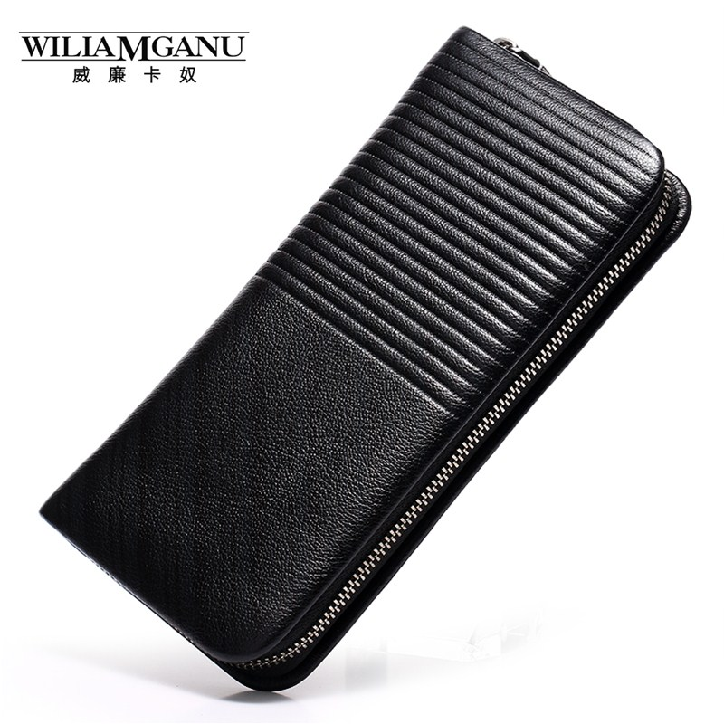 WILIAMGANU  Long Wallet men Genuine Leather Clutch Wrist Bag Card Holder Wallet Coin Purse Male brand business wallets black 077 2017 new cowhide genuine leather men wallets fashion purse with card holder hight quality vintage short wallet clutch wrist bag