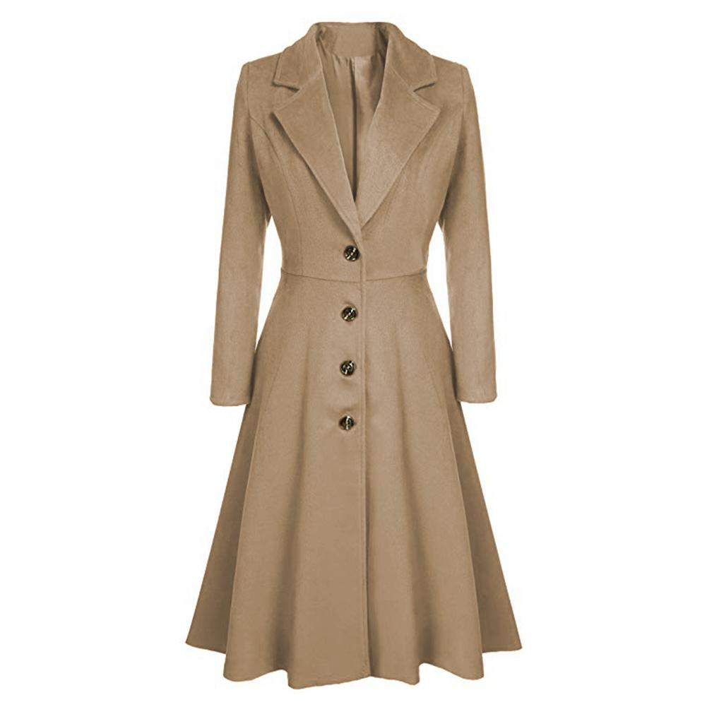 New Fashion Women Single-breasted Windbreaker Lapel Slim Fit Long   Trench   Coat
