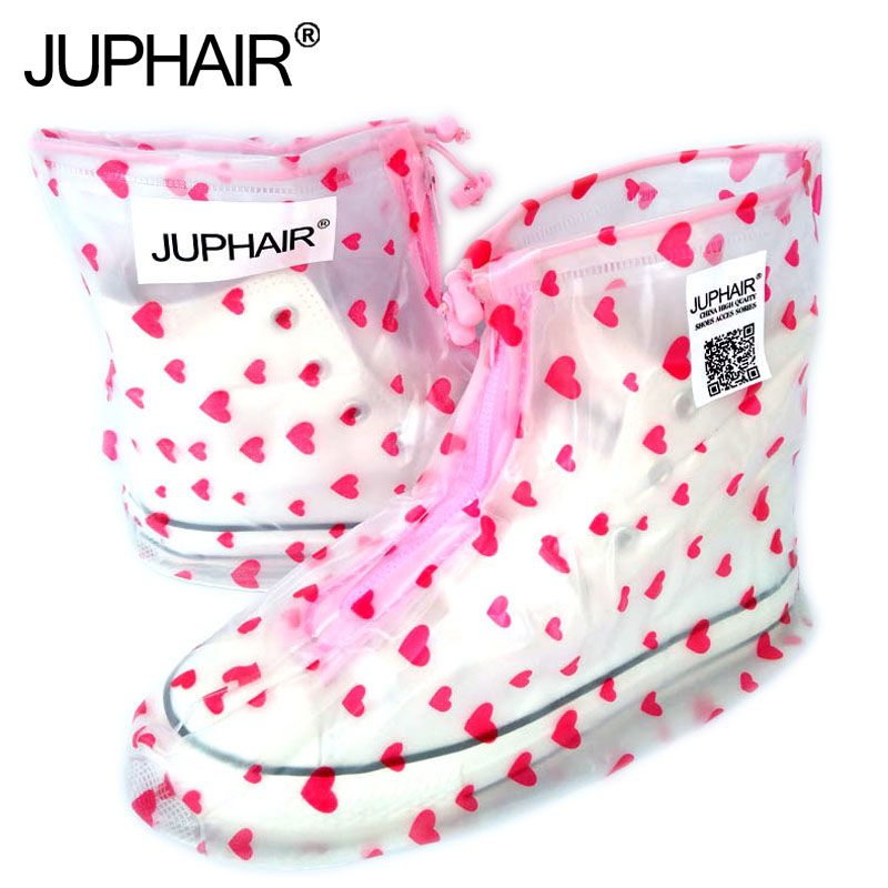JUP Waterproof font b Rain b font Reusable Shoes Covers All Seasons Slip resistant Zipper font