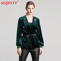 Velvet Jacket 2017 Autumn Fashion Sexy Belt Cultivate V Neck Exquisite Beading Women New Black Green Brown Retro Jacket