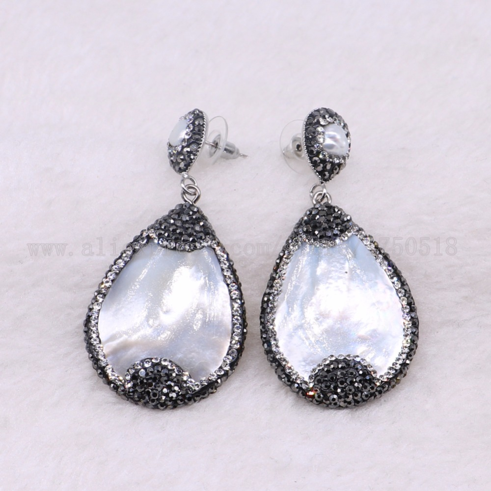 5 Pairs shell stone earrings drop shape with natural stone druzy earrings drop earrings jewelry earrings wholesale jewelry 3387