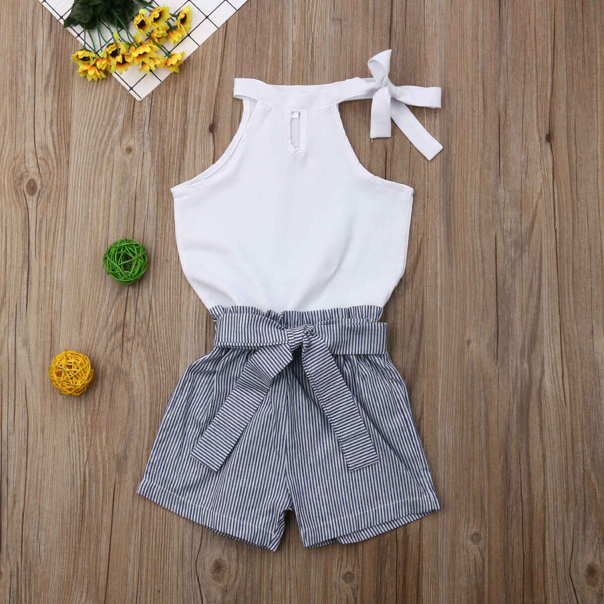 Pudcoco 2019 Toddler Kids Baby Girls Children Clothing White Sleeveless Solid Tops Striped Shorts 2Pcs Set Clothes 2-7Y arrival