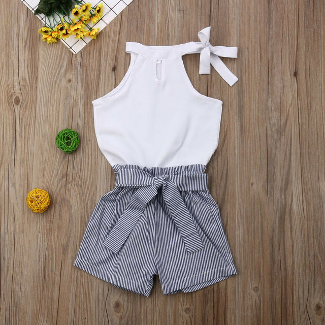 Pudcoco 2019 New Fashion Toddler Kids Baby Girls Clothing White Sleeveless Solid Tops Striped Shorts 2Pcs Sets Clothes 2-7Y