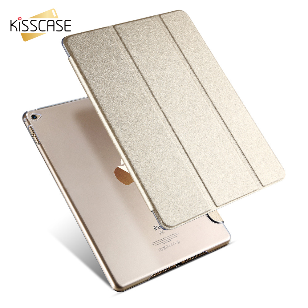 KISSCASE Cover For iPad Pro Mini 9.7 Case Smooth Touch PU Leather Flip Cover For iPad Pro 12.9 Case Folded Kickstand Cover