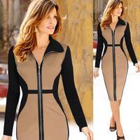 2016 Western Style Knee Length Women Dress Elegant Tunic Office Female Work Dress Plus Size Slim