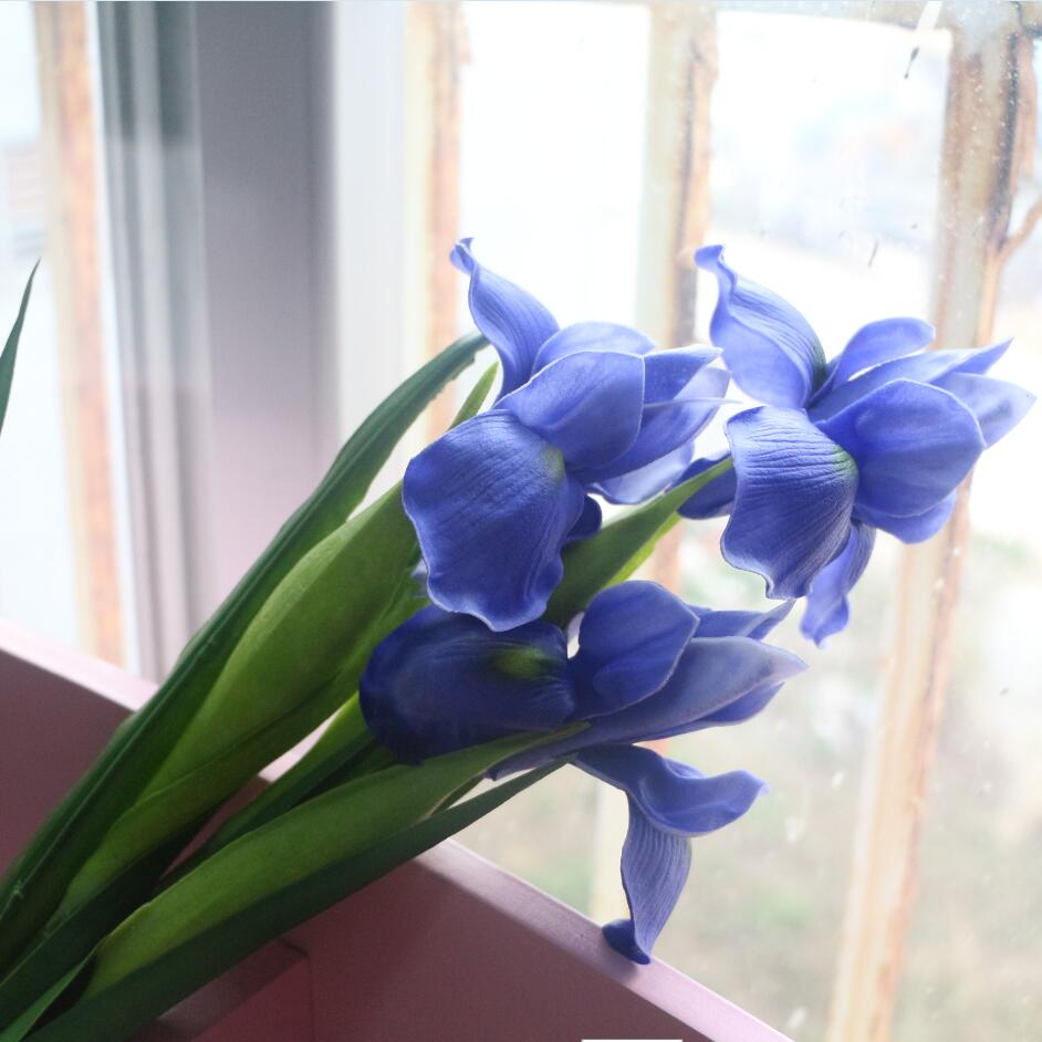 Real Vs Fake Flowers Wedding: Blue Iris Artificial Flower Real Touch Flower Iris For