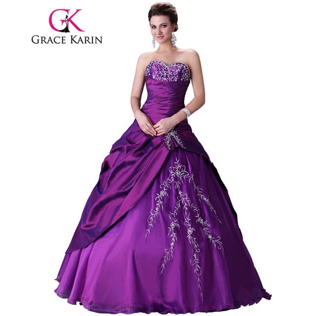 Grace karin sweet 15 vestidos longo vestido de baile roxo quinceanera vestidos de cetim chiffon voile vestidos quinceanera 15 vestidos de 2017