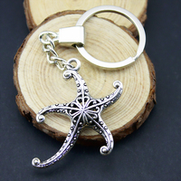 Home Decor Crafts Favors 3d hollow starfish Pendants DIY Car Key Ring Holder Souvenir Gift Optional Package Kraft Paper Box