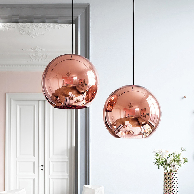 Nordic home globe glass pendant lamp silver gold copper color dinning room living room light home decoration lighting   with LED