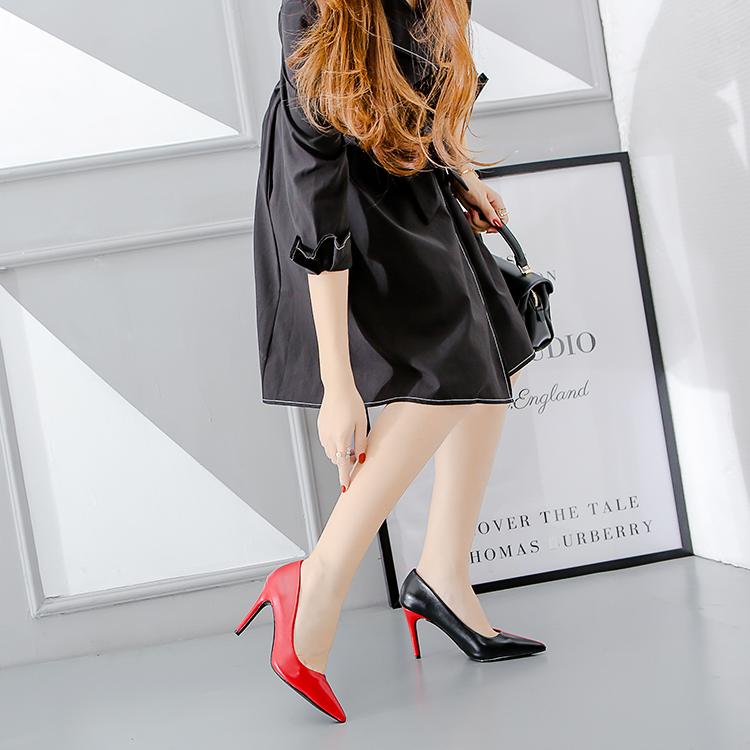 GENSHUO High Heels Sexy Summer Shoes Women Pumps Pointed Toe Ladies Shoes Stiletto CONTRAST Color Black White Red Green classic contrast color club mini dress white black
