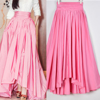 2019 Vintage Women Solid Color Sweet Pink Irregular Long Skirt Female Slim High Waist Plus Size Pleated Ball Gown Party Skirt