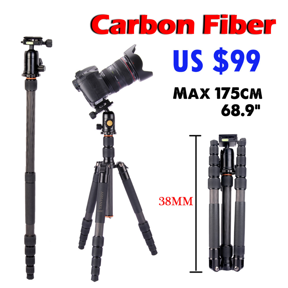 ASHANKS A40C For Camera Professional Monopod Carbon Fiber Tripod For DSLR Camera Stand Better than Q666C ashanks a750c carbon fiber extendable handheld monopod with fluid head for video dslr camcorder camera better than jy0506