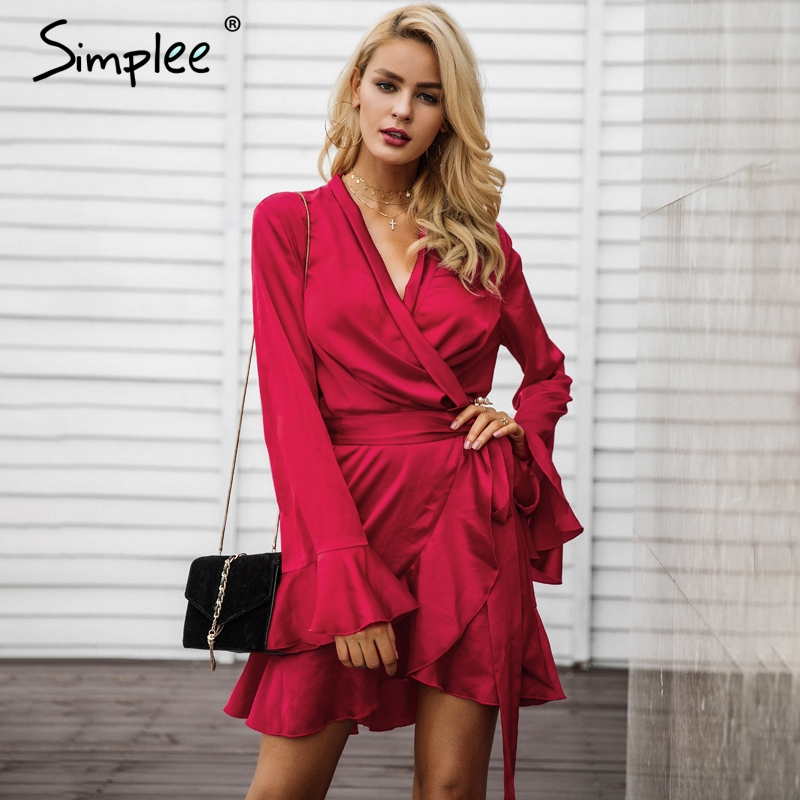 Simplee Elegant sashes v neck satin dress robe femme Irregularity ruffle sleeve autumn dress party Vintage winter dress 2017
