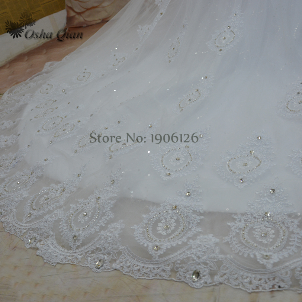 Gorgeous Rhinestones Crystals Wedding Gowns Long Train Lace Bridal ...