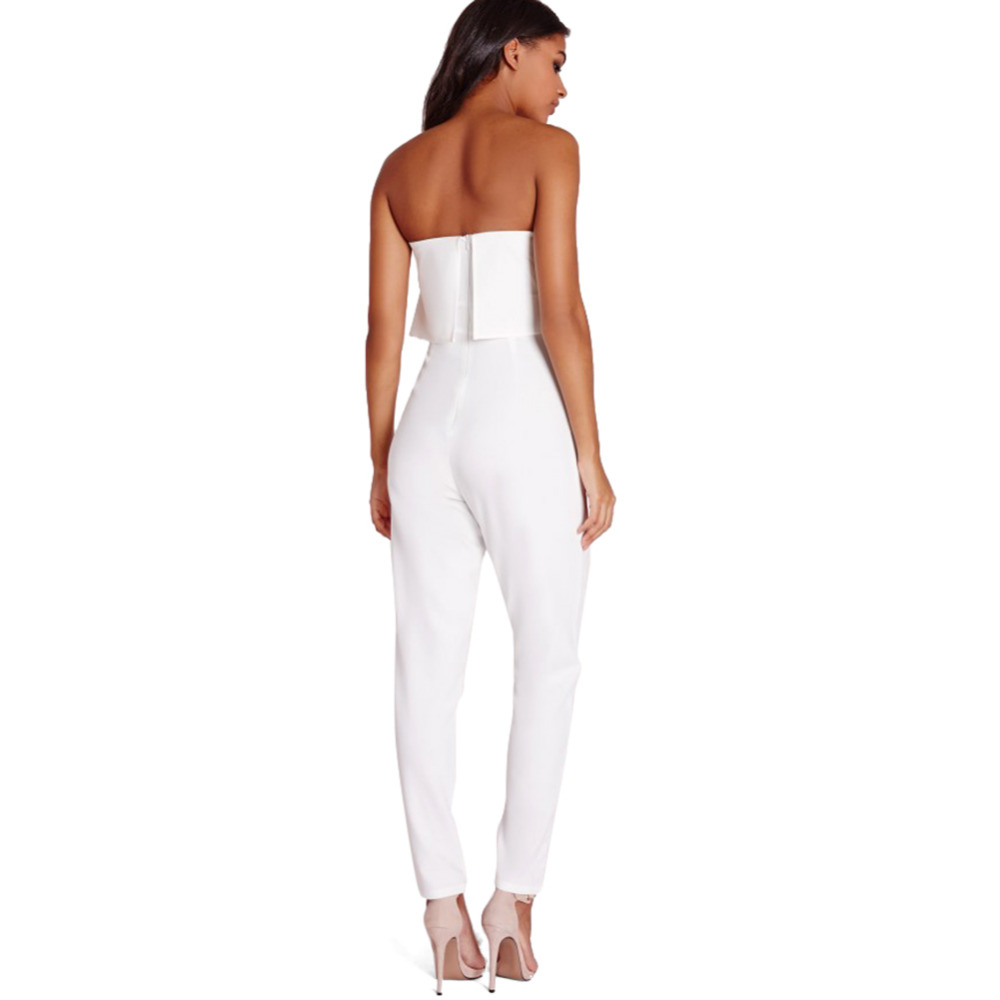 f8db8022024 White Rompers Womens Jumpsuits 2016 Strapless Jumpsuit Women Sexy High  Waist Slim Solid Pocket Long Jumpsuits Overalls Pants-in Jumpsuits from  Women s ...