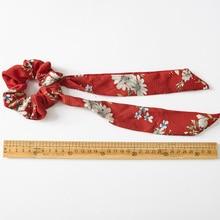 1pc Floral Print Scrunchies  Women Hair Scarf Elastic Bohemian Hairband Bow Hair Rubber Ropes Girls Hair granny chic Accessories
