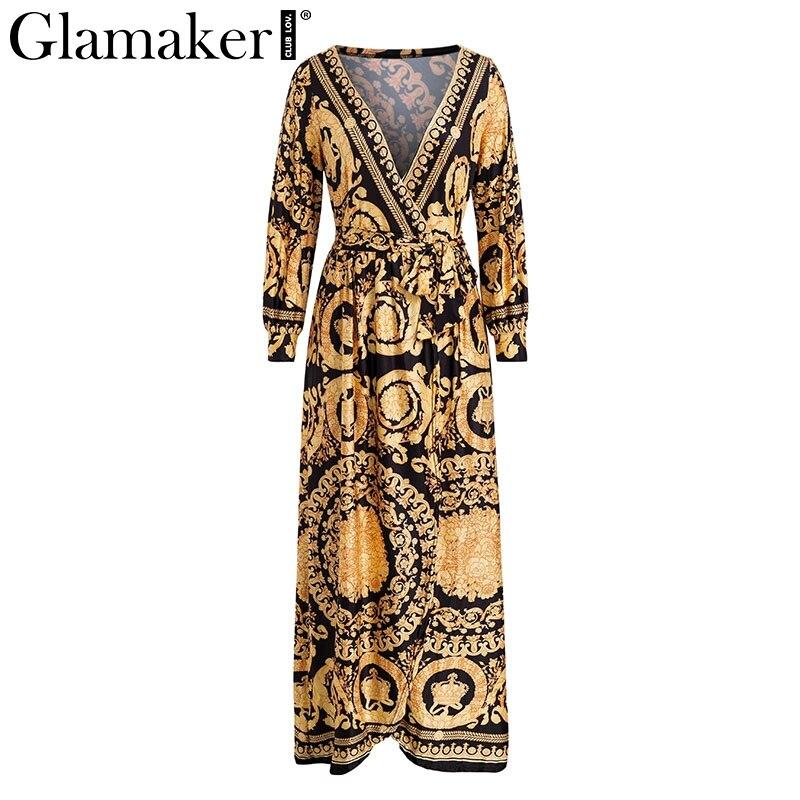 Glamaker Vintage split sexy boho dress Women autumn elegant print maxi dress long sleeve paisley 19 party club dress robe 3