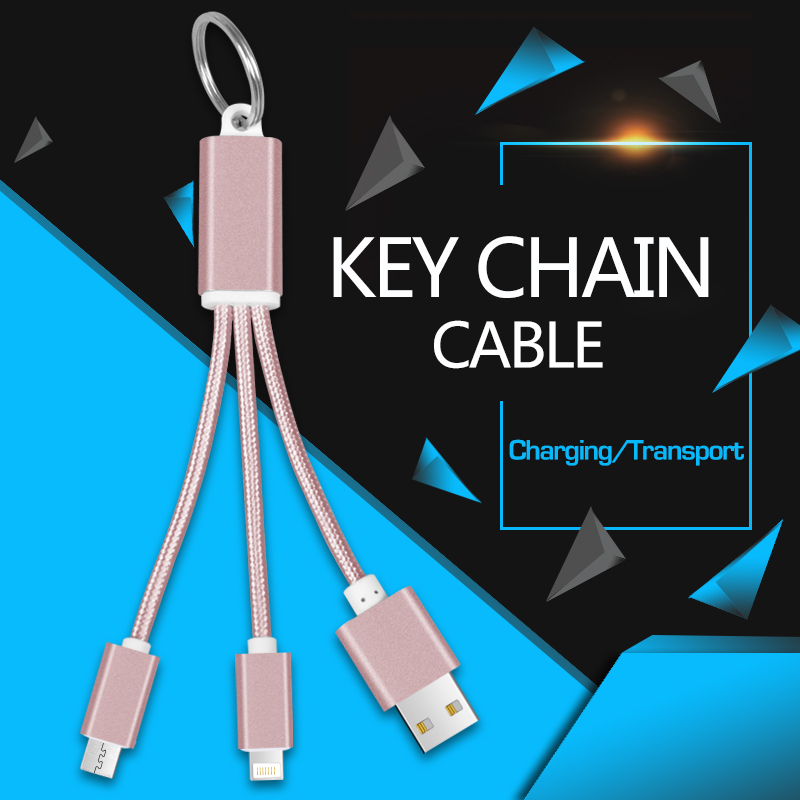 3 in 1 Cable USB keychain fast charging Cable Multi ...