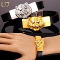 U7 Rock Style Tiger Bracelet Men Women Fashion Jewelry Gold Plated 21 CM Animal Wrap Genuine Leather Bracelet Wholesale H802