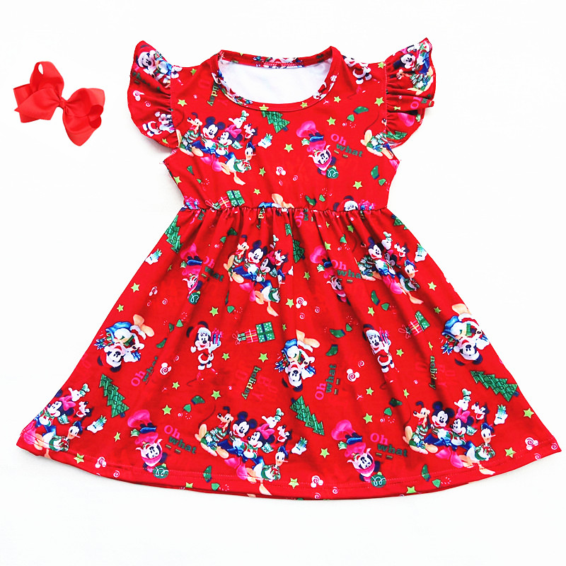 Christmas Mickey Mouse and Duck Holiday printed children Dress Girls clothes short-sleeve Boutique Dress Milksilk match bow plus size christmas candy printed dress