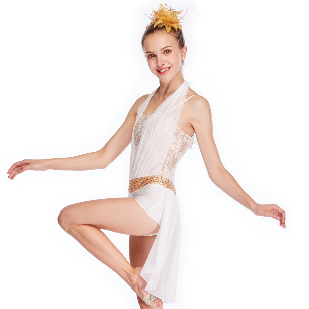 74c911764 Aliexpress.com : Buy MiDee Lyrical Contemporary Costume Halter neck Half  skirt Acro Jazz Latin Salsa Ice Skating Gymnastics White Dance Dress from  Reliable ...