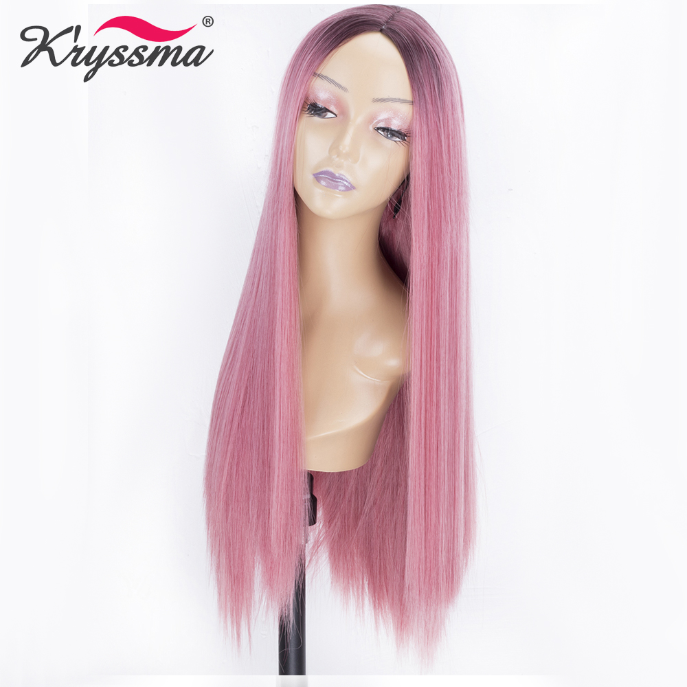 Pink Long Silky Straight Synthetic Hair Wigs with Dark Roots Ombre Wigs for Women Glueless Heat Resistant Fiber Left Part