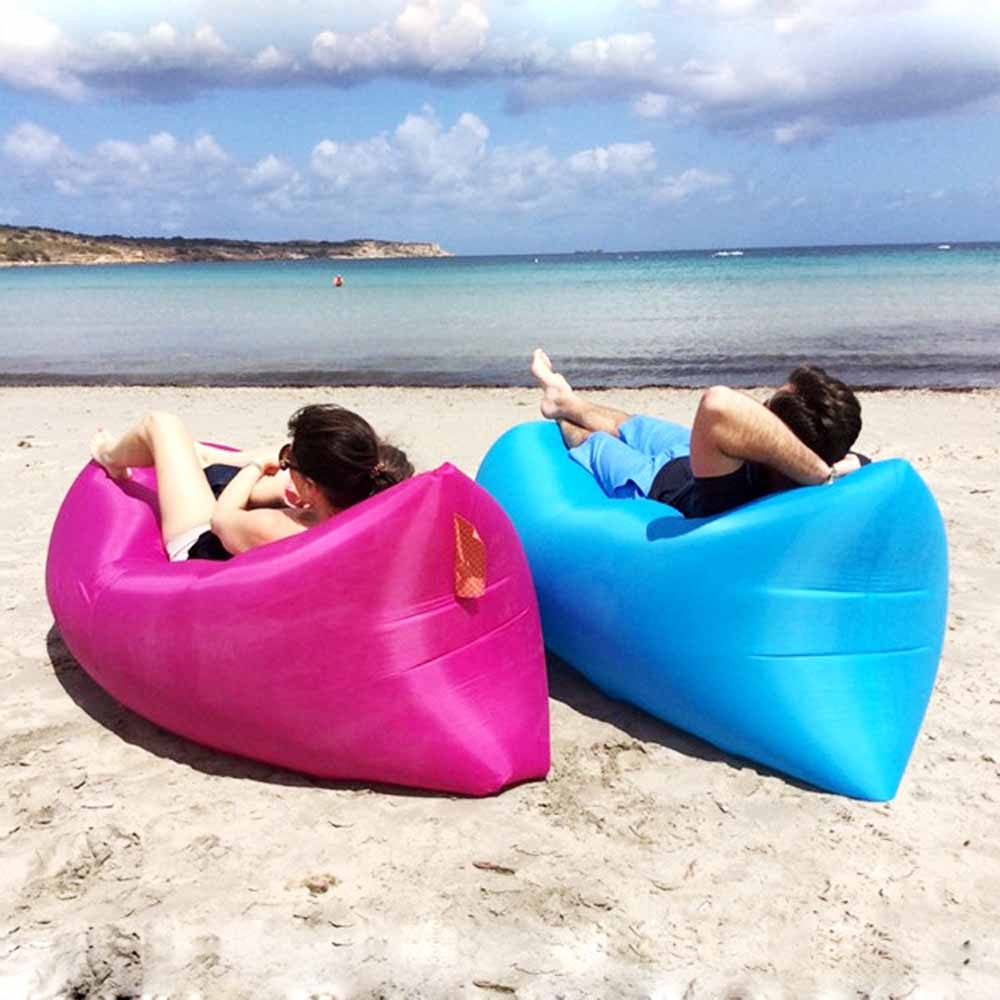 Air Bag Chair Green Outside Chairs Lazy Sofa Beach Bed Fast Inflatable Sleeping Camping Laybag Couch Lounger Saco De Dormir