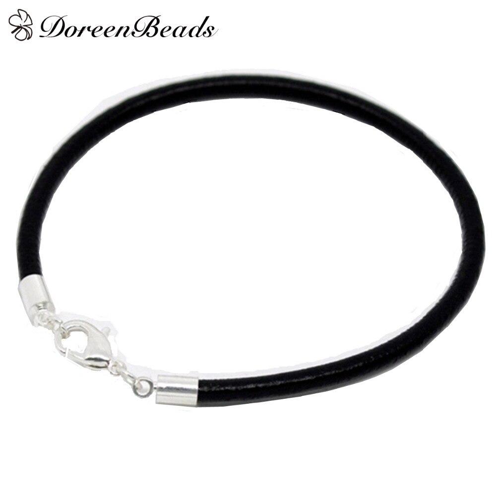 Doreenbeads Hot Sale Silver Color Lobster Clasp Black Genuine Leather  Bracelets Fit Women Men Diy Charm