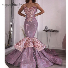mermaid evening dresses sweetheart neckline sequins lace appliques puffy sparkly fishtail prom pink
