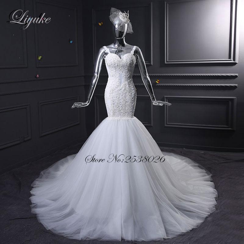 Liyuke J35 Fabulous Tulle Sweetheart Zeemeermin Trouwjurken Kapel - Trouwjurken - Foto 1