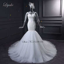 Liyuke J35 Fabulous Tulle Sweetheart Mermaid Wedding Dresses Chapel Train Appliques Beaded Backless Elegant Bridal