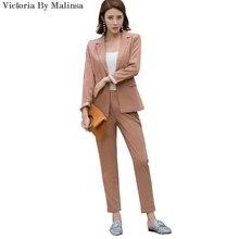 2017 Fashion Autumn Women New Formal Pantsuits Women Work Wear Suits Blazer Sets Nacarat Stripe Office lady Uniform