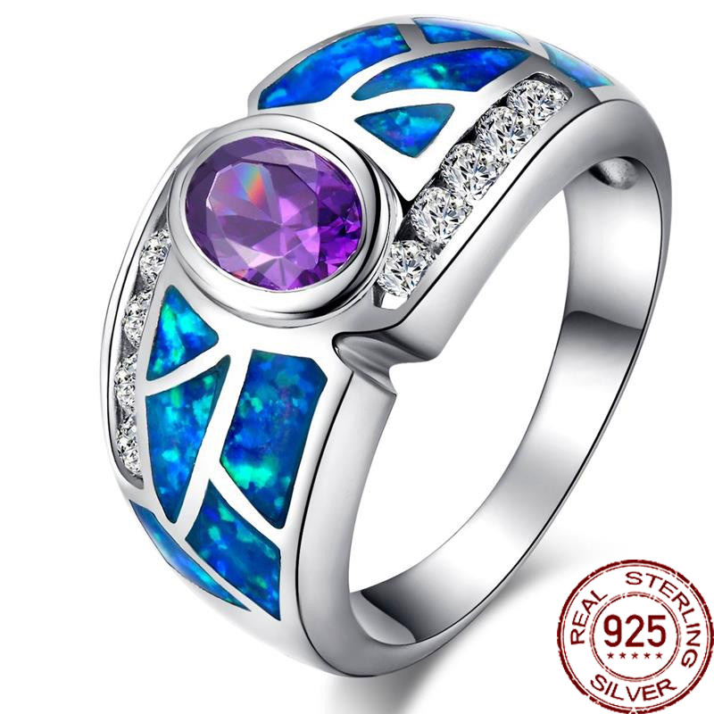 Aceworks Noble Blue Opals Gem 100% 925 Sterling Silver Ring Wedding Big Rings Women Best Gift CZ Stone Jewelry Bohemia RN2402