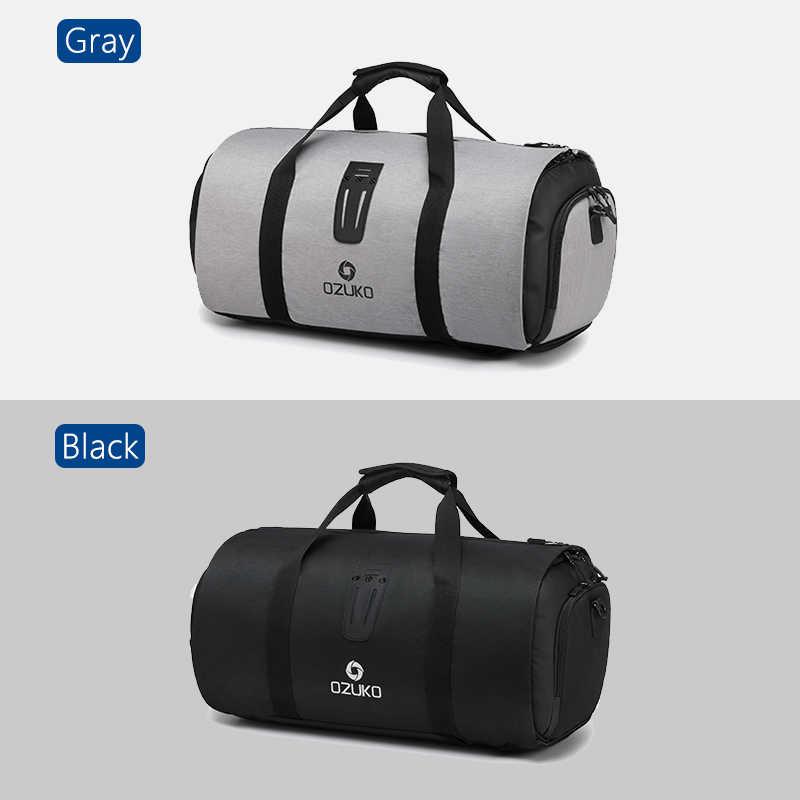 OZUKO Multifunctionele Grote Capaciteit Mannen Reistas Waterdichte Plunjezak voor Trip Pak Opslag Handbagage Tassen met Schoen Zakje