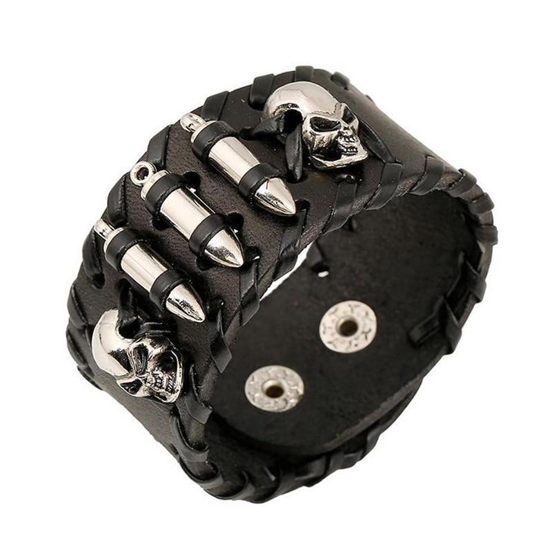 Original Brand Steampunk Male Bangles Leather Woven Wide Cowhide Bracelet Vintage Jewelry Metal Bullet Skull Rivet Mens Bracelet
