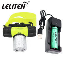 Waterproof xmL T6 Diving Swimming Headlamp Underwater Headlight Fishing Lamp Use 18650 Battery LED Flashlight