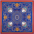 Super Large Twill Silk Women Scarf 130*130cm Geometric Flower Maze Print Square Scarves High Quality Gift Fashion Silk Shawls