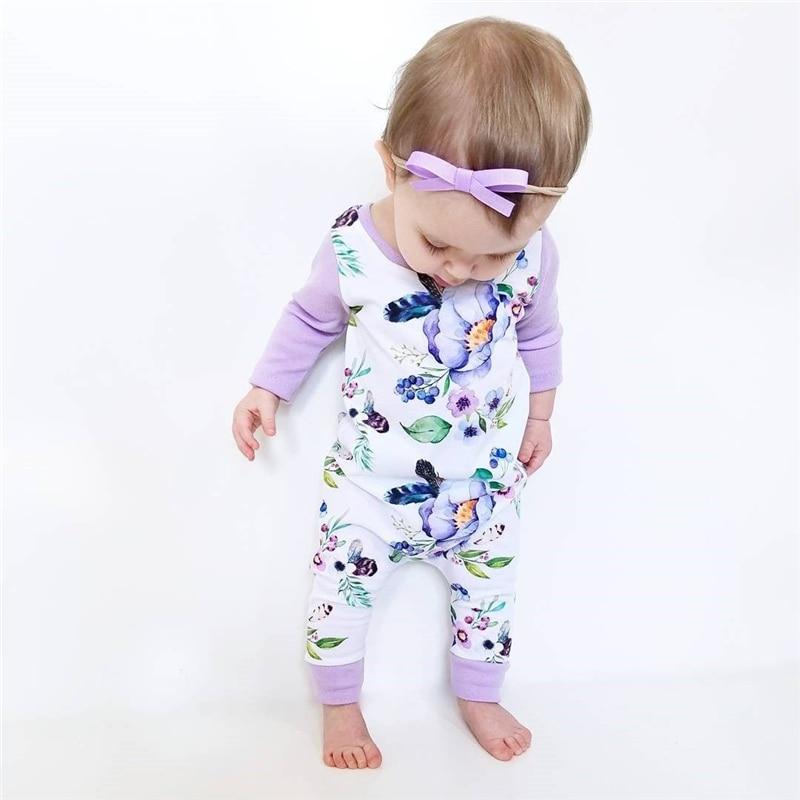 Pyjama Floral pour enfants | Barboteuse, vêtements pour bébés filles, en coton à manches longues, tenue globale, automne 2017