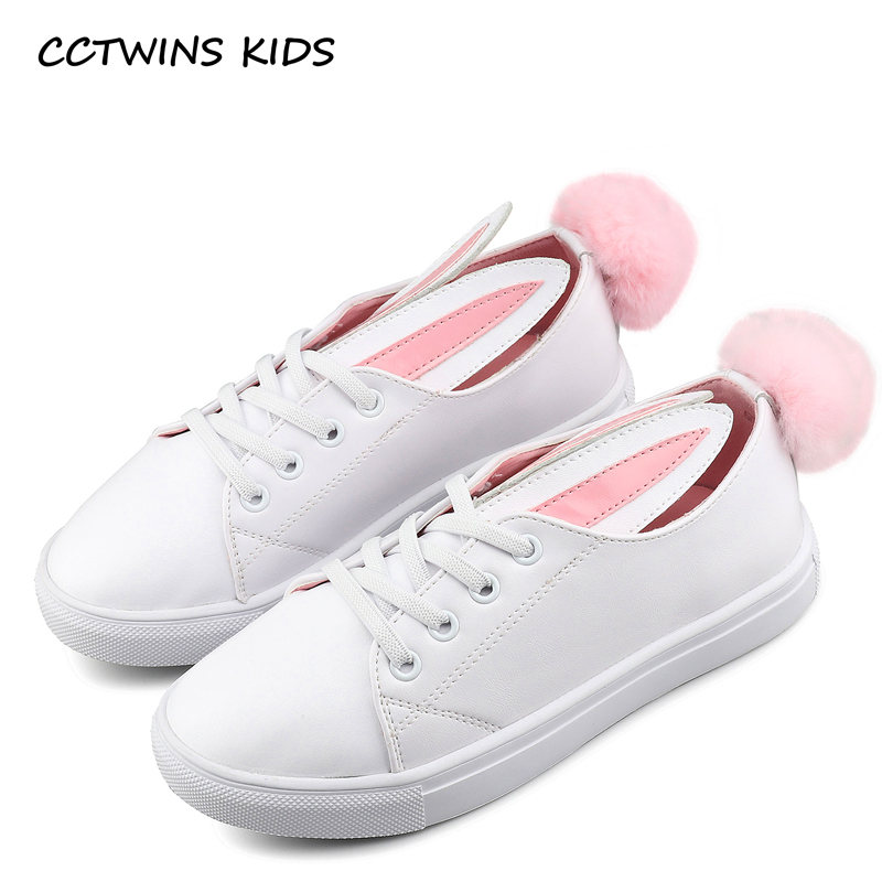 CCTWINS KIDS 2017 Toddler Fashion Leather Sport Shoe Children Black Breathable Sneaker Baby Girl White Bunny Flat F1689