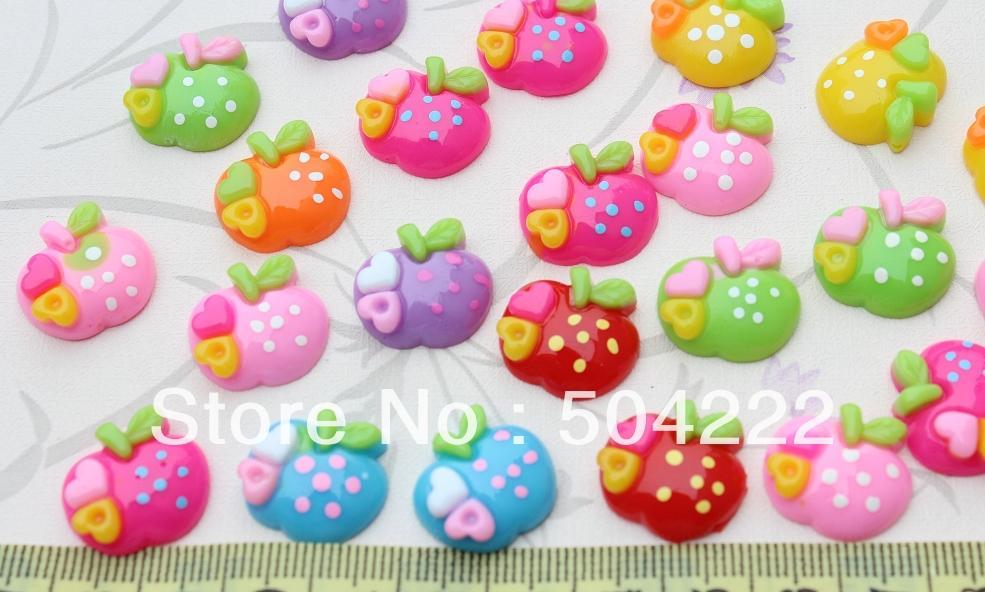 300pcs heart polka dots apple kitsch kawaii Cabochon resin cabs mixed Colors 19x16mm